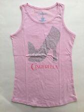 NEW Disney Cinderella Girls Tank Top Pink W Sparkly Glass Slipper Design -Size L