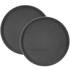"Set of 2 18"" Round Black Plastic Trays Food Drinks Dinner Serving Waiters Cafe"