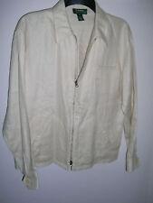 Lauren Ralph Lauren 100% Linen Ivory Zip Up Jacket - sz M
