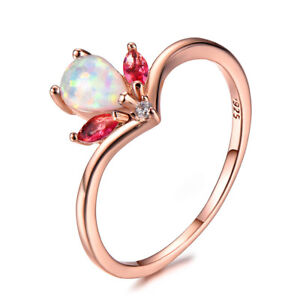 Crown Style White Fire Opal Red Garnet Gold Plated Silver Round Rings Size 7-10