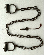 Old Vintage Antique Strong Heavy Iron Long chain Rare Adjustable Lock Handcuffs