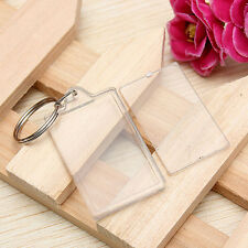 5pcs Transparent Blank Insert Photo Picture Frame Keyring Split Ring keychain US