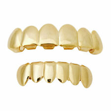 14K Gold Plated Mouth Cap Teeth Grills Top Bottom Grillz Free Mold Cosplay Party