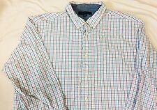 TOMMY HILFIGER Mens Button Up Shirt XL Checks white/Blue Box Logo On Sleeve #34