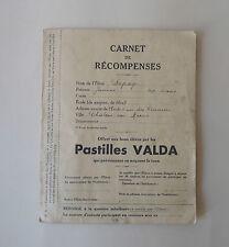 Pastilles VALDA Carnet de Récompenses timbres chien et chats 1940 Award Notebook