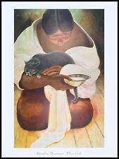 Sandra Biermann Blaue Katze Poster Kunstdruck Bild im Alu Rahmen schwarz 80x60cm