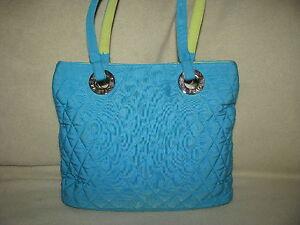 VERA BRADLEY Small Quilted Purse Handbag Hobo Blue/Green Cotton