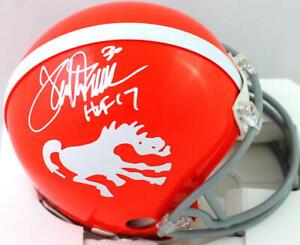 Terrell Davis Autographed Broncos 62-65 TB Mini Helmet w HOF- Beckett W *White