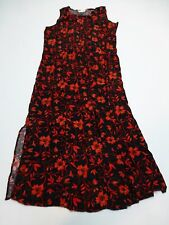 Impressions Dress Womens Size M Red & Black Floral Woven Dress Good Condition