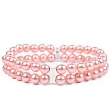Pearl Pet Necklace 2 Rows Beautiful Charm Collars Collar Grooming Jewellery Pink