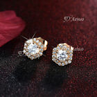 18K YELLOW GOLD GF MADE WITH SWAROVSKI CRYSTAL STUD EARRINGS CUTE NEW ARRIVAL