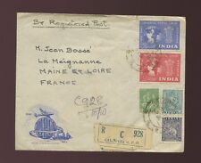 INDIA 1949 UPU REGISTERED ILLUSTRATED ENVELOPE FDC + 5 STAMPS FRANKING to FRANCE