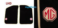 MGTF MGF MG TF pair BEIGE leather trim LHD car mats MG badge logo