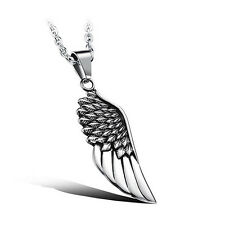 Vintage Feather Angel Wing Pendants Necklace Stainless Steel Men Fashion Jewelry