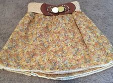 Charlotte Russe Floral Skirt Lining Crochet Belt Big Buckle Size Small