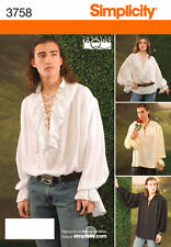 PATTERN for Laced Pirate Vampire Shirt Simplicity 3758 XS-XL 30-48 Jamie Lestat