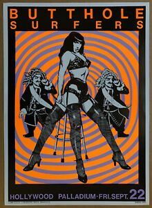 BUTTHOLE SURFERS Hollywood Palladium 1989 CONCERT POSTER Signed KOZIK Minty!