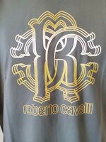 NWT Roberto Cavalli HST611 A475 Graphic Crew Neck Cotton Green T-Shirt Size M