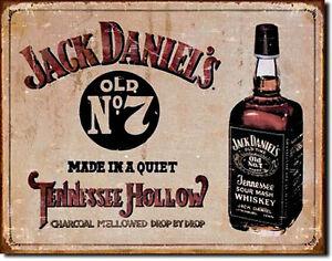 Vintage Whisky Insegna Decorativa J.Daniel `S Pubblicità Poster USA Retrò Targa