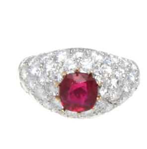 Van Cleef & Arpels Platinum, Natural Burma No Heat Ruby & Diamond Ring GIA