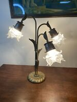Vintage Art Nouveau Solid Brass French Flower Glass Petal Shade Lamp Tall 20""
