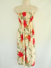 Made in Hawaii Luau Tropical Floral Beach Short Strapless Smock Sundress Yellow