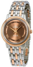 424.20.27.60.13.001 | NEW WOMEN'S OMEGA DEVILLE PRESTIGE ROSE GOLD & STEEL WATCH