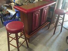 Vintage Portable Bar & Stool Set Wood & Retro Red Studded Vinyl Mobile home