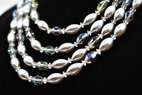 LAGUNA signed Vintage Faux Pearl Necklace Aurora Borealis Crystal Layered Bin6