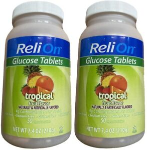 TWO ReliOn Diabetes Glucose 50 Tablets -Tropical Fruit Exp.08/22 100 Total New
