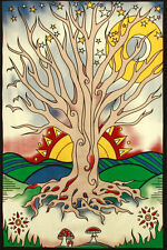 Tree Psychedelic Sun Moon Mushrooms Tapestry Wall Hanging Bedspread Throw
