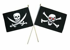 "12x18 12""x18"" Wholesale Combo Pirate Calico Jack & Red Eye Skull Stick Flag"