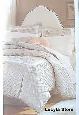 Jaclyn Smith King Sz Comforter Set TRANQUILITY Flower Embroidery Diamond Pintuck
