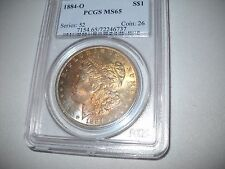 1884-O Morgan Silver Dollar PCGS MS65  Sensational Rainbow Obverse Toning