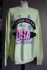 Vtg Teddy Bear Club Usa Xl 46-48 California Yellow Hanes Sweatshirt 50/50