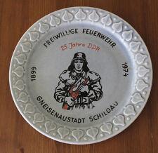 Original Erinnerungs - Teller Freiwillige Feuerwehr SCHILDAU 25 Jahre DDR 1974