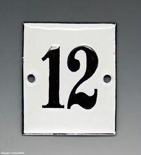 KLEINE...! ALTE EMAIL EMAILLE NUMMER 12 aus HOTEL ? um 1950...6 x 5 cm !!