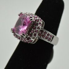 Fashion wedding style pink cubic zircon rhodium plated ring size:7  ##-88