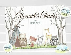 Woodland Animals Baby's First Year Calendar, Personalized Calendar for new baby