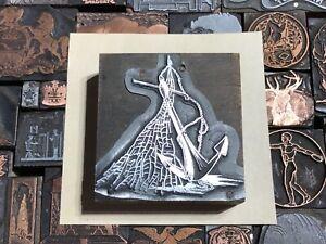 VTG Anchor & Fishing Net Nautical Letterpress Print Type Cut Ornament Block