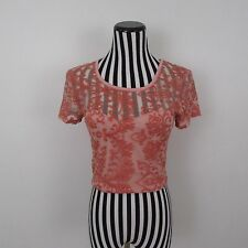 Pins and Needles Pink Mesh Lace Crop Top Size L