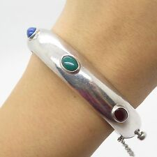 """Mexico Vtg 925 Sterling Silver Real Multicolor Gemstone Bangle Bracelet 7.5"""""""