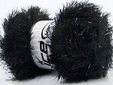 Large 100 gram skein Black Eyelash Dazzle #42253 Ice Metallic Eyelash Yarn