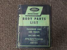 1944-1946 Ford Mercury Tudor Fordor Coupe Sedan Wagon Parts Catalog Manual 1945