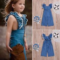 Toddler Infant Kid Baby Boy Girl Denim Romper Jumpsuit Bodysuit Clothes Outfits
