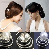 Hot 6/12x Bridal Wedding Party Crystal Pearl Flower Bride Spiral Twist Hair Pins