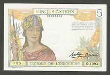 French Indochina 5 Piastres N.D. (1936); AU+; P-55b; Ancient statues