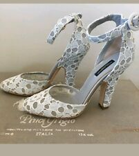Dolce & Gabbana Light Gray/Blue Lace Ankle Strap Shoes Heels Size 38