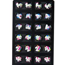 12PairWomen's Unicorn Resin Cabochon Earrings Stud 8mm Gifts Jewelry Wholesale