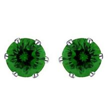 10mm 14K White Gold Rhodium Plated Basket Round Emerald Solitaire Earrings Studs
